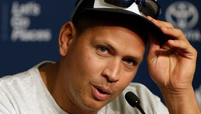 New York Yankees' Alex Rodriguez reacts during a news conference prior to his last MLB baseball game against the Tampa Bay Rays on Friday, Aug. 12, 2016, in New York.