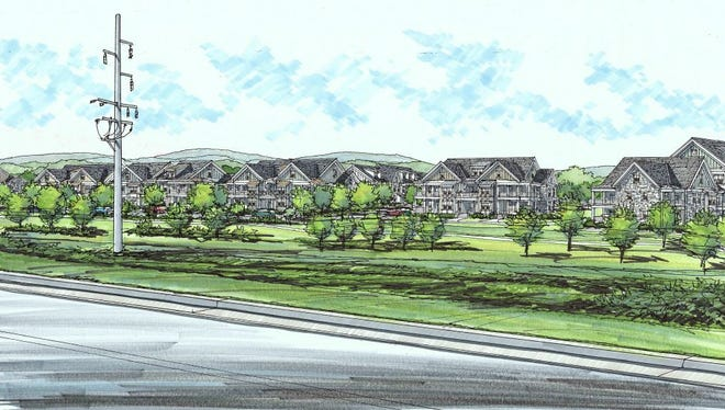 An architectural elevation showing a view from the Mack Hatcher Bypass to the complex driving west.