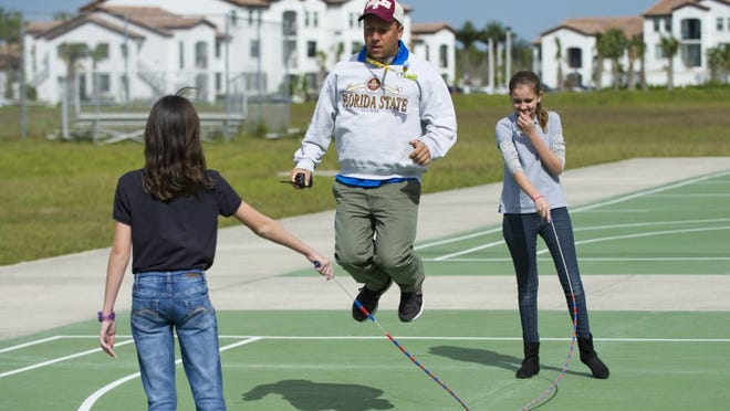 An image from Palm Pointe Educational Research School at Tradition in Port St. Lucie in 2016 where students were enjoying their outdoor activities reward for raising money for the Jump Rope for Heart event which benefits the American Heart Association (AHA). Over the last eight years the school donated more than $54,000 to the AHA.