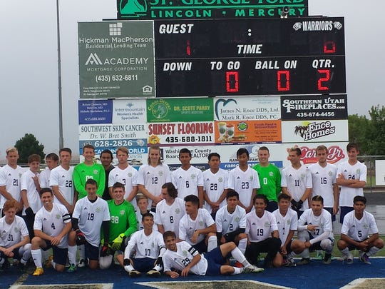 Snow Canyon players pose for a picture after beating Grantsville 6-1 at home on Saturday. The Warriors will play Logan on Friday and are back in the 3A semifinals for the second year in a row.