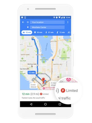 The parking feature available on Google Maps for Android.
