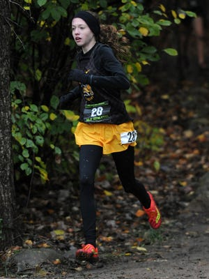 Ashley Beatty, a freshman at Buckeye Valley, competes in the Division II regional cross country meet at Pickerington North. The Barons qualified for the state meet.