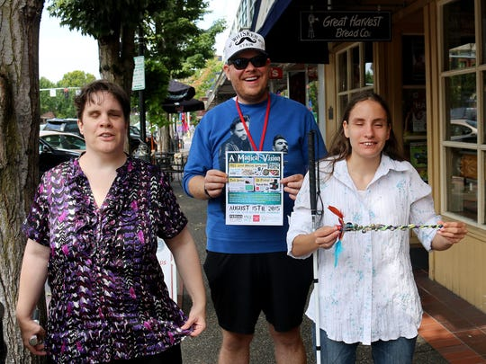 From left, Tina Hansen, Patrick Ireland, and Kendra Schaber are planning a magical event this Saturday at the Prisms Gallery at the Reed Opera House.