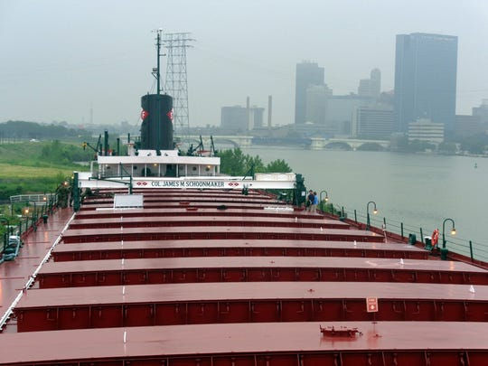 The 617-foot-long Col. James M. Schoonmaker once hauled iron ore, coal and rye on the Great Lakes. It was launched in 1911 and was mothballed in 1980. Today, it is a museum ship at the National Museum of the Great Lakes in Toledo, Ohio.