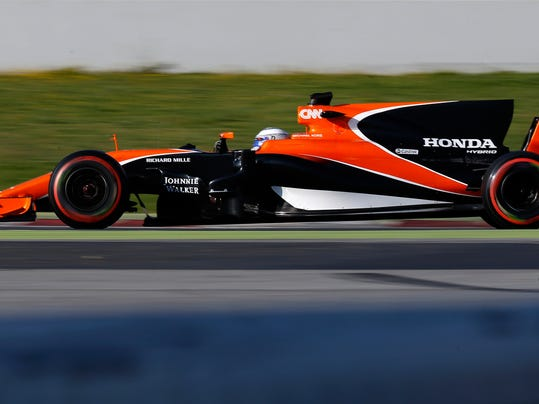 McLaren driver Fernando Alonso of Spain steers his car during a Formula One pre-season testing session at the Catalunya racetrack in Montmelo, outside Barcelona, Spain, Monday, Feb. 27, 2017. (AP Photo/Francisco Seco)