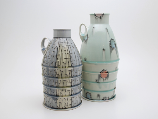 Jug bottles created by artist Doug Peltzman, of Dover