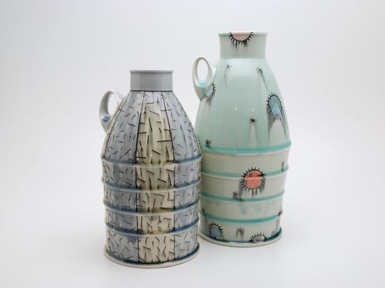 Jug bottles created by artist Doug Peltzman, of Dover Plains.