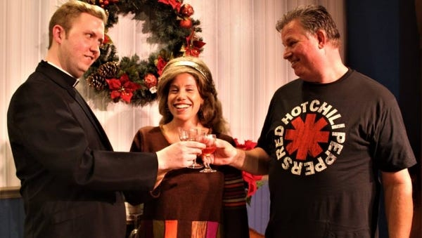 """Adult children Thomas (Ben Earman), Maddie (Abby Bolduc) and Richard (Daniel M. Hall), meet at home for the holidays in Vero Beach Theatre Guild's """"Making God Laugh,"""" running through Sunday."""