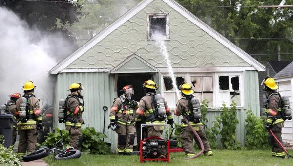 KImberly firefighters on the scene of a structure fire, detached garage, on Birch Street on June 26, 2018 in Kimberly, Wis.