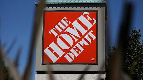A Home Depot sign.