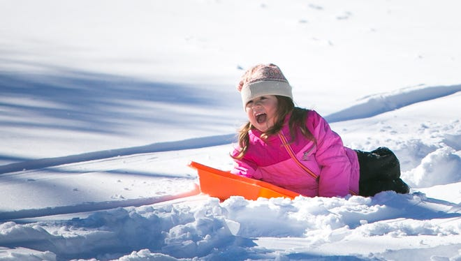 Lena Bojanowski, 4, sleds at Gateway Farms/Hickory Hill Park in Hockessin. The blizzard that pummeled the region Saturday has forced school districts to suspend classes.