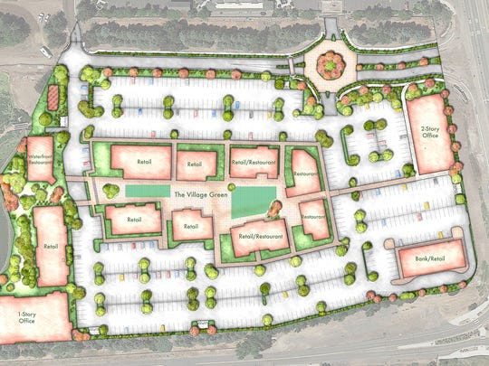 Artist renderings of The Village center at Rancharrah in Reno, which shows locations for its planned amenities.