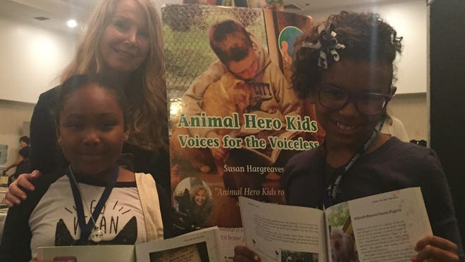 """""""Animal Hero Kids Voices for the Voiceless"""" book empowering youth to be kind2all, avail at animalherokids.org  Genesis Butler, Susan Hargreaves and Duchess Heart"""