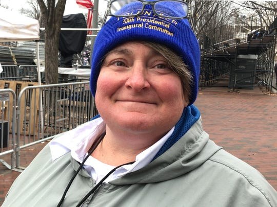 Jenny Bultman of Indianapolis is a volunteer for the presidential inaugural parade on Friday, Jan. 20, 2017.