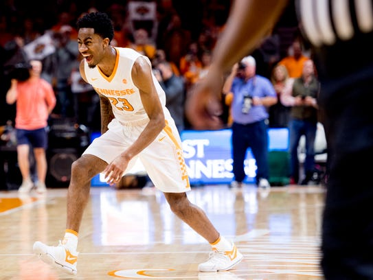 Tennessee guard Jordan Bowden (23) reacts after defeating