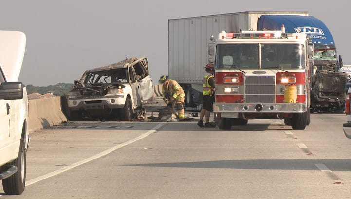One person died, several people were hurt and multiple vehicles were damaged Friday afternoon when a truck driver  struck a car in the northbound lanes of Interstate 75.
