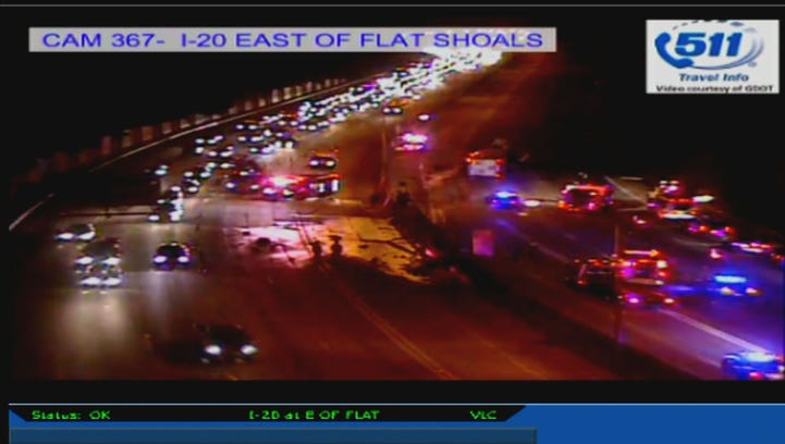 A tractor trailer accident shut down all lanes of I-20 east in DeKalb County