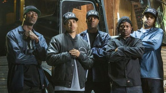 """Straight Outta Compton's"" N.W.A., from left: MC Ren (Aldis Hodge), DJ Yella (Neil Brown Jr.), Dr. Dre (Corey Hawkins), Eazy-E (Jason Mitchell) and Ice Cube (O'Shea Jackson Jr.)."