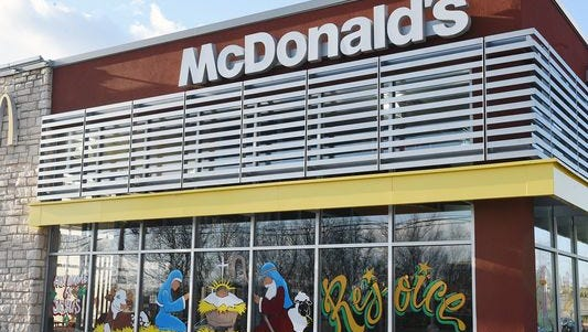 The front windows of a McDonald's in Spring Hill, Tenn. are painted with a nativity scene.