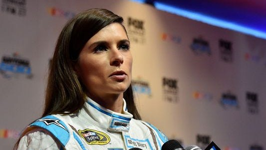 """Danica Patrick, shown during Daytona 500 media day, says of yoga, """"I think it's more of a reaffirming that we are all unique."""""""