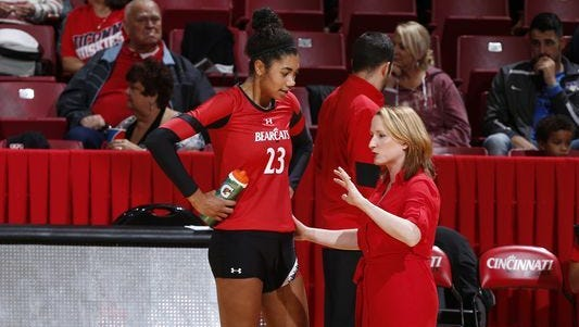 University of Cincinnati volleyball coach Molly Alvey, here with player Jordan Thompson, will be head coach of the USA Collegiate National Team that will tour Europe this summer.