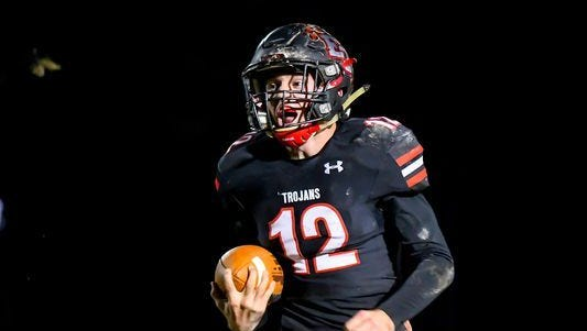 FILE – East Central QB Alex Maxwell led the Trojans to the Class 4A state title on Saturday.