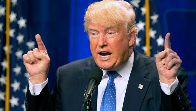 In this Monday, June 13, 2016, file photo, Republican presidential candidate Donald Trump speaks at Saint Anselm College in Manchester, N.H. Trump has promised to liven up the 2016 Republican National Convention. But some of America's biggest corporations are bailing on the party.
