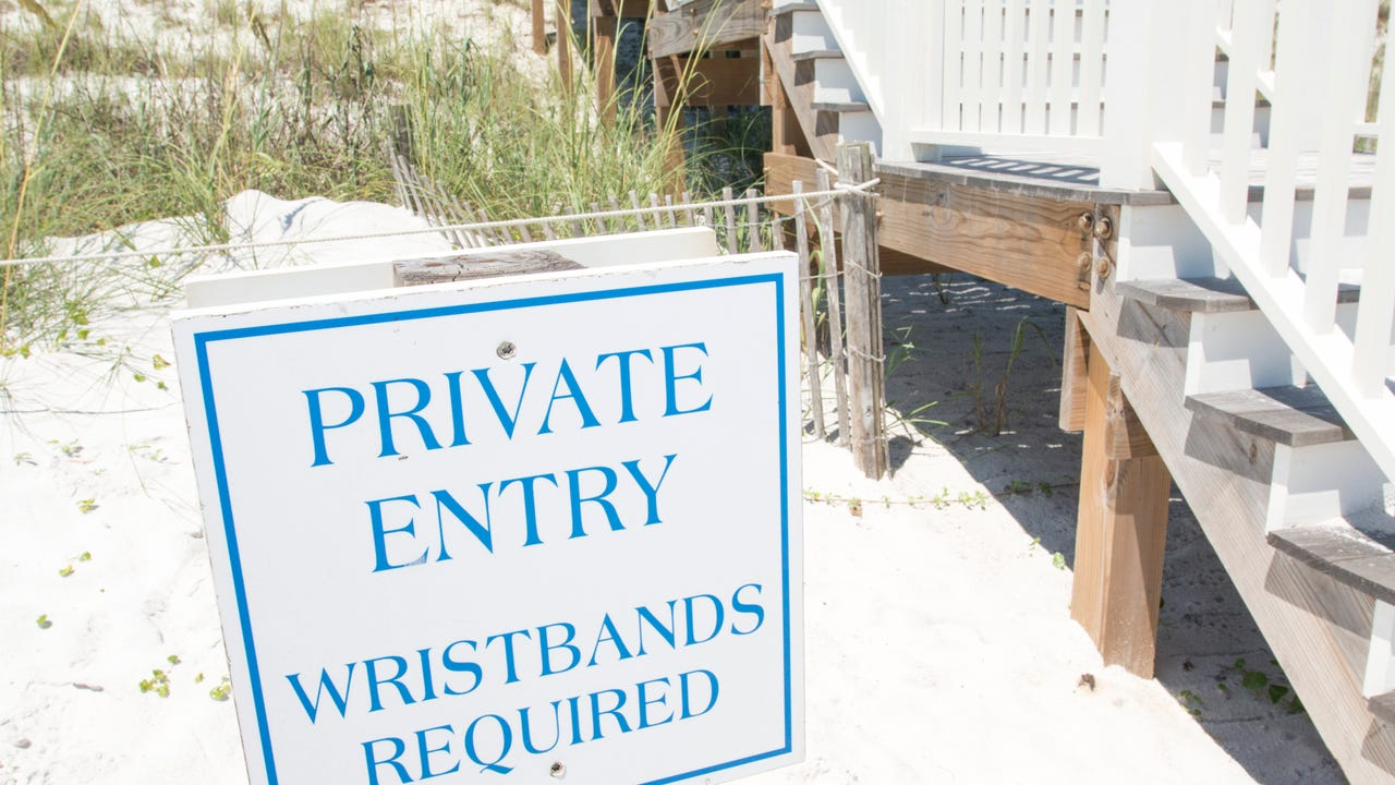 "Florida's Walton County Beaches including show ""private beach"" signs."