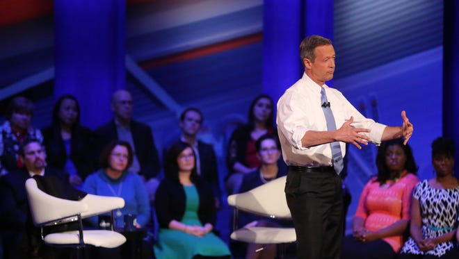 Presidential hopeful, Martin O'Malley on stage during the Democratic Presidential Town Hall forum in Sheslow Auditorium on the Drake University campus Monday evening, Jan. 25, 2016.