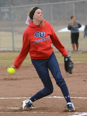 Cleary's Olivia Silvestri, shown pitching last month, threw a five-hit shutout for her first college victory on Wednesday.