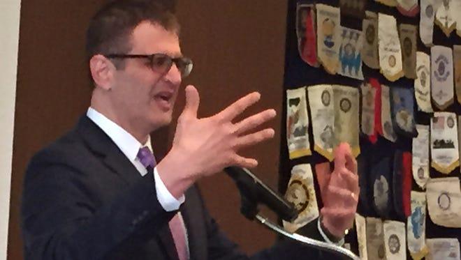 Joe Haj speaks Tuesday to St. Cloud Rotary Club at the Marriott hotel.