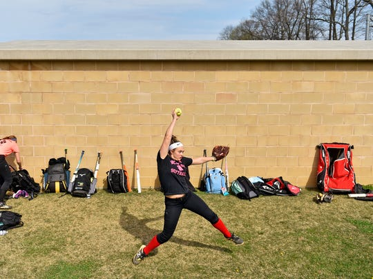 Red Lion's Hailey Inguanti pitches during softball