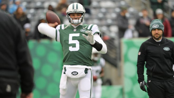 Christian Hackenberg is shown during warmups, Sunday, Dec. 24, 2017.