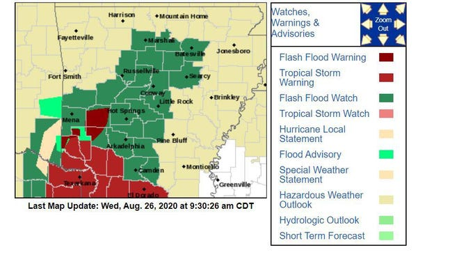 Sebastian County was not under any advisory warnings as of Wednesday morning.