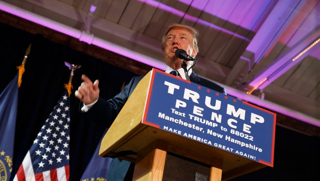 Republican presidential candidate Donald Trump speaks at a campaign rally, Friday, Oct. 28, 2016, in Manchester, N.H. (AP Photo/ Evan Vucci)