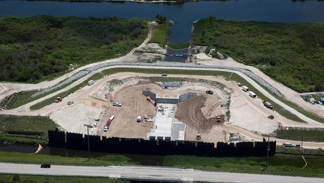 A bird's-eye view of construction along the Caloosahatchee River near the West Basin Storage Reservoir on Tuesday, May 9, 2017.