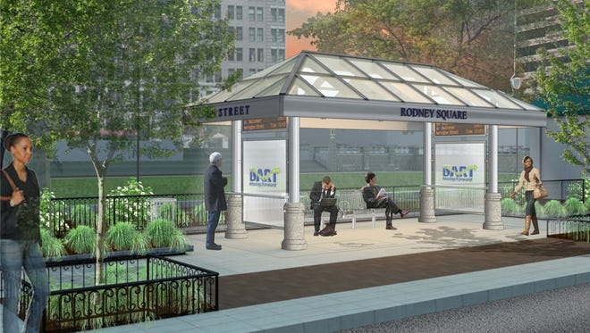 A rendering of the new bus shelter in Rodney Square is shown. A group of private-public investors are planning renovations to the space in downtown Wilmington, it was announced Wednesday.