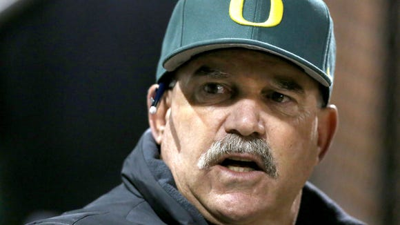 Oregon's coach George Horton during their game with New Mexico at PK Park on Thursday, Feb. 19 , 2015, in Eugene, Ore.