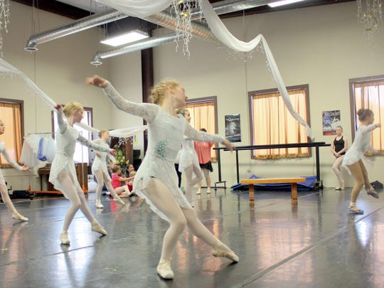 "Students of the Dali Ballet Company rehearse for a performance of  ""Twisted Tales""."