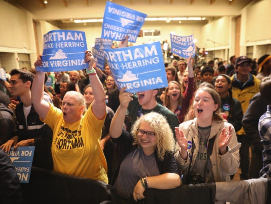 Supporters of Ralph Northam, the Democratic candidate