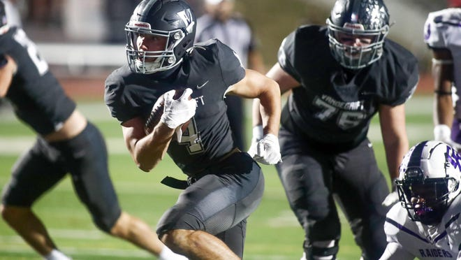 Vandegrift's Ryan Sheppard scores his second touchdown of the first half during the Vipers' 35-6 win over Cedar Ridge Friday at Monroe Memorial Stadium.