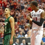 San Diego State forward Winston Shepard (right) reacts as CSU guard Gian Clavell looks on during the Aztecs' 72-63 win over the Rams at Viejas Arena last season. Shepard is a contender for preseason Mountain West Player of the Year.
