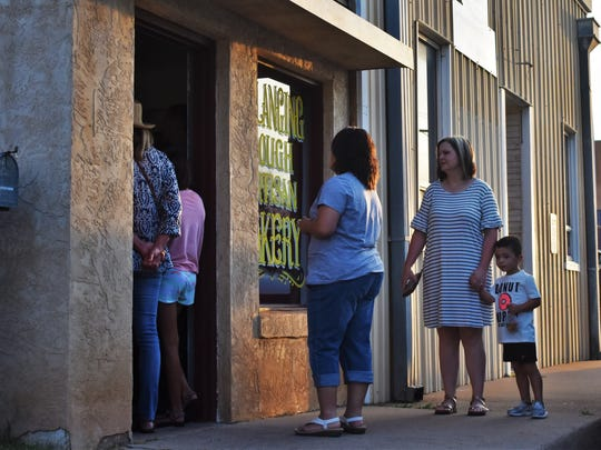 Customers lined up outside Slanging Dough on July 26,