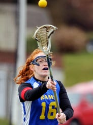 Kennard-Dale's Nicole Black scored the game-winning goal in double overtime Saturday to lift the Rams past host Cumberland Valley, 13-12. (Daily Record/Sunday News -- Chris Dunn)