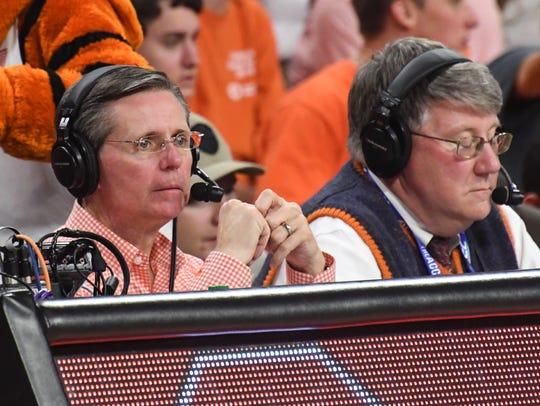 Clemson basketball radio announcer Don Munson, left,