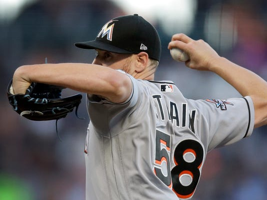 Miami Marlins pitcher Dan Straily works against the San Francisco Giants during the first inning of a baseball game Friday, July 7, 2017, in San Francisco. (AP Photo/Ben Margot)