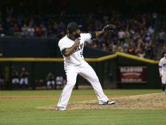 Fernando Rodney reacts after earning his 300th career