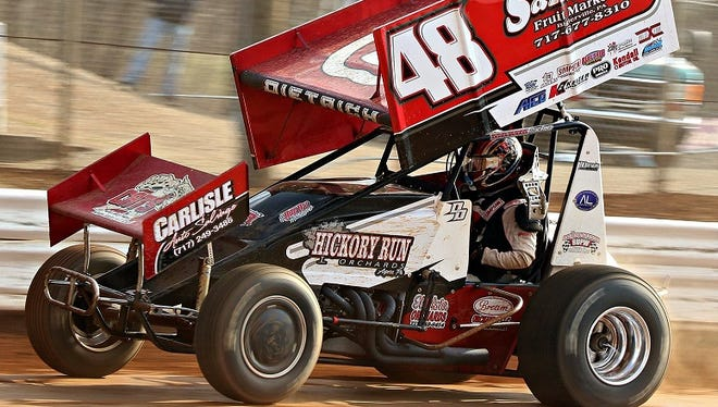 Danny Dietrich races down a straightaway at Lincoln Speedway.