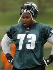Philadelphia Eagles top  draft pick Shawn Andrews  takes a breather during drills at the team's training facility, Wednesday, July, 28, 2004, in Bethlehem, Pa. (AP Photo/Bradley C. Bower)