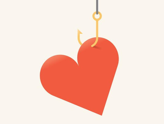 Vector illustration of red heart symbol on fishing hook.